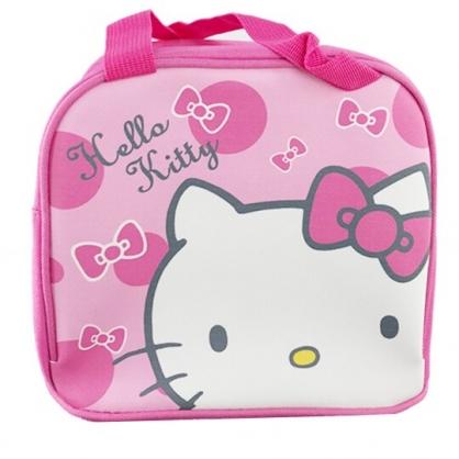 小禮堂 Hello Kitty 便當袋 皮質 方形 手提袋 保冷袋 野餐袋 (粉白 大臉)