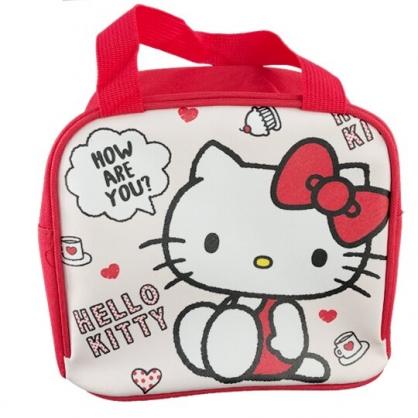 小禮堂 Hello Kitty 便當袋 皮質 方形 手提袋 保冷袋 野餐袋 (米紅 側坐)