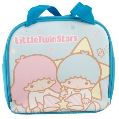 小禮堂 雙子星 便當袋 皮質 方形 手提袋 保冷袋 野餐袋 (粉藍 星星)