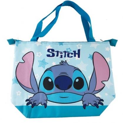 小禮堂 迪士尼 史迪奇 側背袋 尼龍 橫式 保冷袋 肩背袋 野餐袋 行李拉桿包 (藍 大臉)