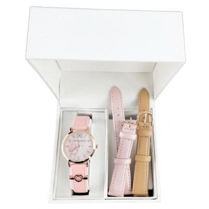 小禮堂 美樂蒂 日製 手錶 皮質錶帶 腕錶 淑女錶 休閒錶 錶帶可換 精緻盒裝 (粉 愛心)