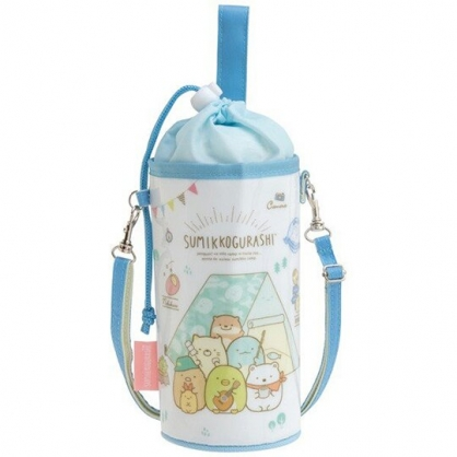 小禮堂 角落生物 水壺袋 水壺背袋 保冷 防水 環保杯袋 水瓶袋 500-650ml (藍白 露營)