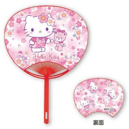 小禮堂 Hello Kitty 日製 塑膠扇 圓扇 手拿扇 扇子 (紅 櫻花)