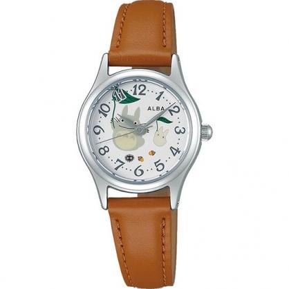 小禮堂 宮崎駿 Totoro龍貓 手錶 皮質錶帶 防水錶 腕錶 淑女錶 休閒錶 透明盒裝 (綠棕 樹葉)