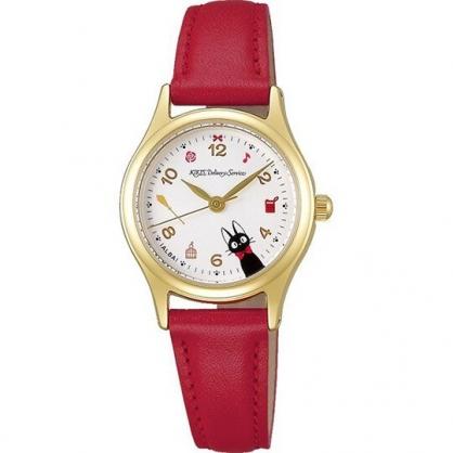 小禮堂 宮崎駿 魔女宅急便 手錶 皮質錶帶 防水錶 腕錶 淑女錶 休閒錶 透明盒裝 (紅金 KIKI)