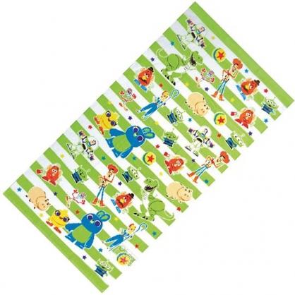 小禮堂 迪士尼 玩具總動員 浴巾 毛巾 純棉 割絨 70x140cm (綠白 橫紋)