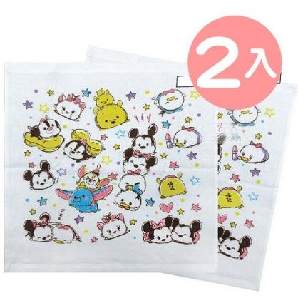 小禮堂 迪士尼 TsumTsum 短毛巾 方形毛巾 純棉 紗布 34x35cm (2入 白 星星)
