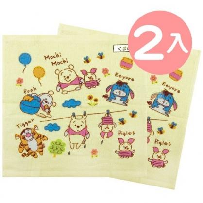 小禮堂 迪士尼 小熊維尼 短毛巾 方形毛巾 純棉 紗布 34x35cm (2入 黃 Q版)