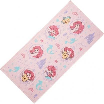 小禮堂 迪士尼 小美人魚 浴巾 毛巾 純棉 紗布 60x120cm (粉 框框)