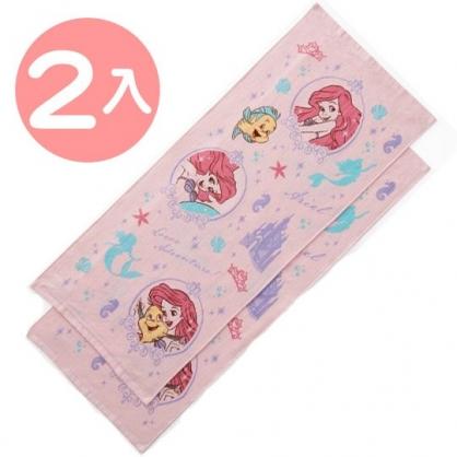 小禮堂 迪士尼 小美人魚 長毛巾 長巾 純棉 紗布 34x80cm (2入 粉 框框)