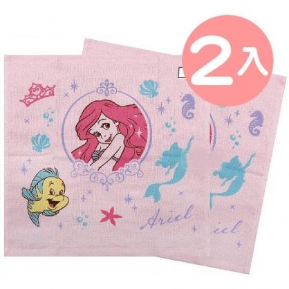 小禮堂 迪士尼 小美人魚 短毛巾 方形毛巾 純棉 紗布 34x35cm (2入 粉 框框)