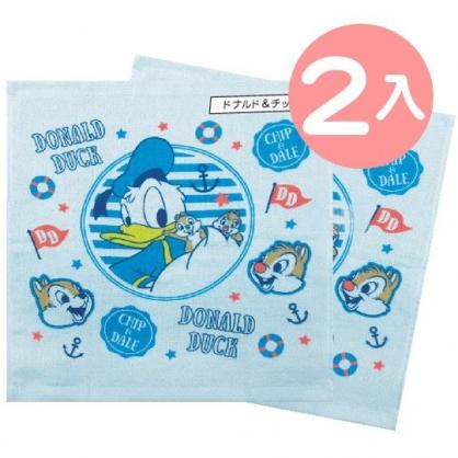 小禮堂 迪士尼 唐老鴨 奇奇蒂蒂 短毛巾 方形毛巾 純棉 紗布 34x35cm (2入 藍 打招呼)