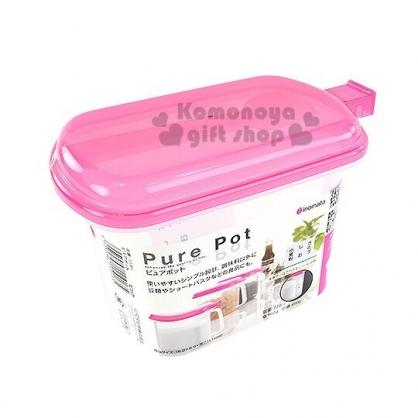 小禮堂 日本INOMATA 日製 調味料盒 單耳 塑膠 調味罐 香料盒 保鮮盒 附湯匙 720ml (桃蓋)
