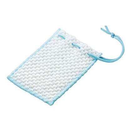 小禮堂 日本MAMEITA 肥皂網袋 肥皂海綿 皂袋 清潔刷 (藍白)
