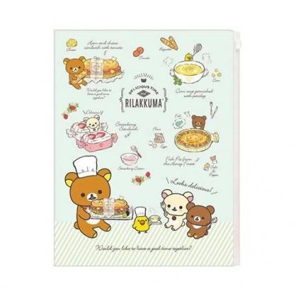 小禮堂 懶懶熊 拉拉熊 資料夾 A4 雙開式文件夾 檔案夾 L夾 附夾鏈袋 (綠棕 食物)