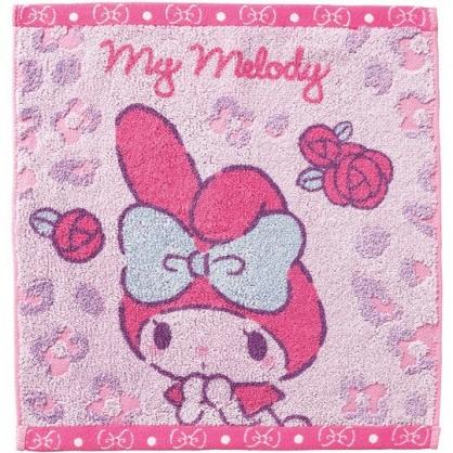 小禮堂 美樂蒂 短毛巾 方形毛巾 純棉 無捻紗 丸真毛巾 34x36cm (粉紫 玫瑰)