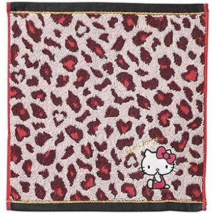 小禮堂 Hello Kitty 短毛巾 方形毛巾 純棉 無捻紗 丸真毛巾 34x36cm (粉棕 豹紋)