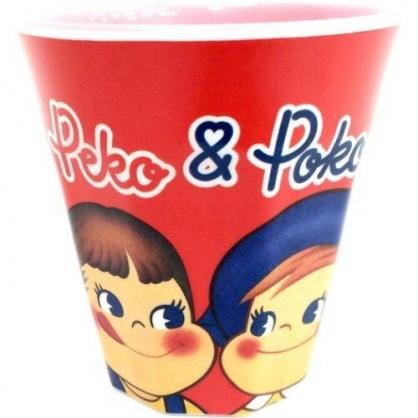 小禮堂 不二家PEKO 美耐皿杯 無把 兒童水杯 漱口杯 塑膠杯 270ml (紅 對看)