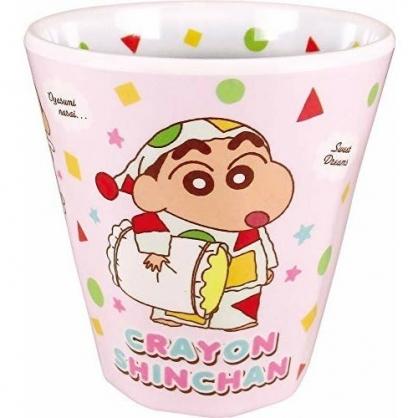 小禮堂 蠟筆小新 美耐皿杯 無把 兒童水杯 漱口杯 塑膠杯 270ml (粉綠 睡衣)