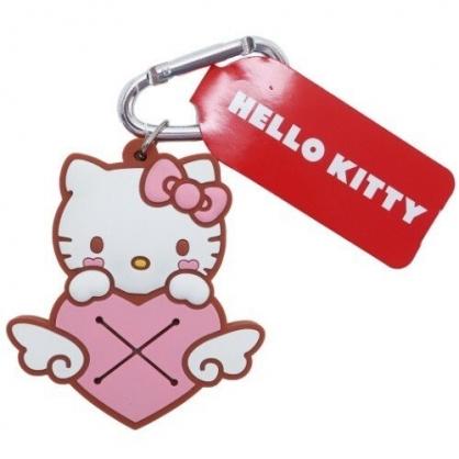 小禮堂 Hello Kitty 鑰匙圈 矽膠吊飾 鎖圈 掛飾 毛巾夾 毛巾收納 (粉棕 愛心)