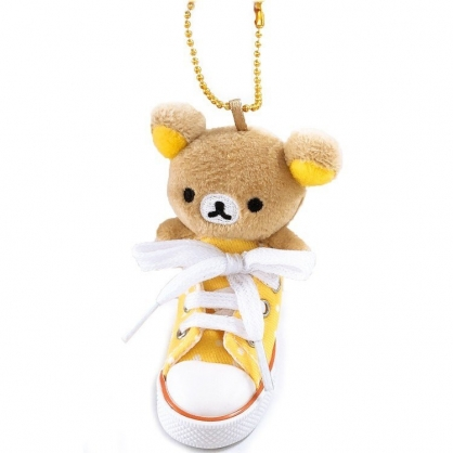 小禮堂 懶懶熊 拉拉熊 鑰匙圈 絨毛吊飾 鎖圈 掛飾 帆布鞋造型 (黃棕)