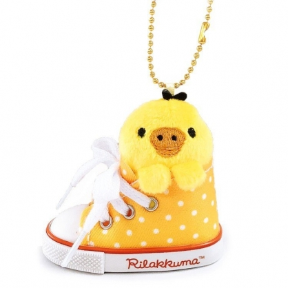 小禮堂 懶懶熊 小雞 鑰匙圈 絨毛吊飾 鎖圈 掛飾 帆布鞋造型 (黃橘)