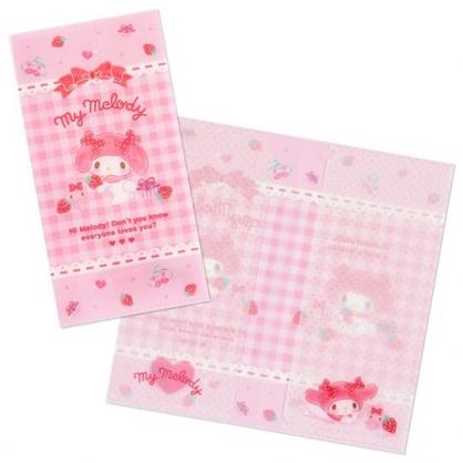 小禮堂 美樂蒂 日製 票據夾 雙開式文件夾 資料夾 檔案夾 收納夾 (粉 格紋)