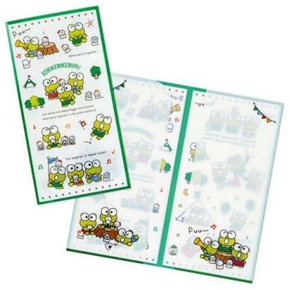 小禮堂 大眼蛙 日製 票據夾 雙開式文件夾 資料夾 檔案夾 收納夾 (白 朋友)