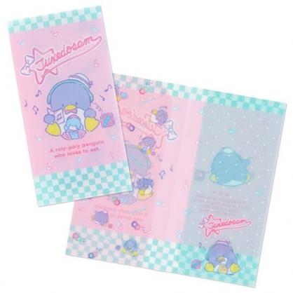 小禮堂 山姆企鵝 日製 票據夾 雙開式文件夾 資料夾 檔案夾 收納夾 (粉 耳機)