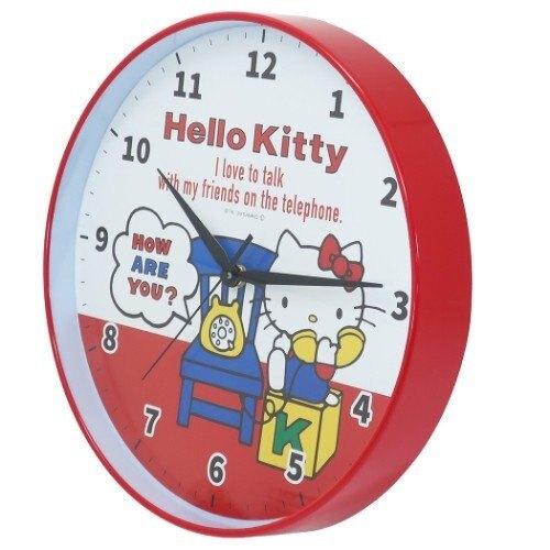 小禮堂 Hello Kitty 壁掛鐘 連續秒針 時鐘 壁鐘 圓形 (紅白 電話)