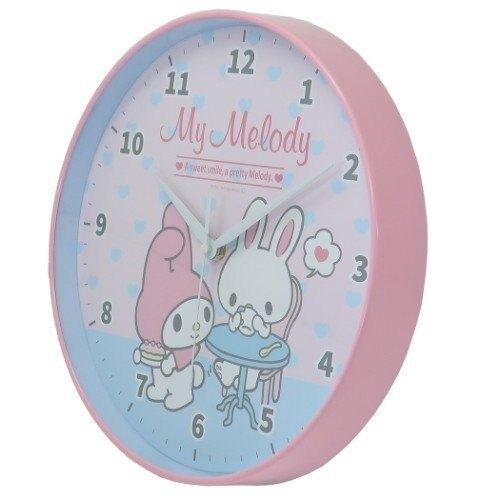 小禮堂 美樂蒂 壁掛鐘 連續秒針 時鐘 壁鐘 圓形 (粉白 兔子)