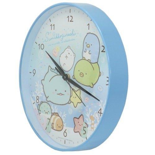 小禮堂 角落生物 壁掛鐘 連續秒針 時鐘 壁鐘 圓形 (藍白 海底)