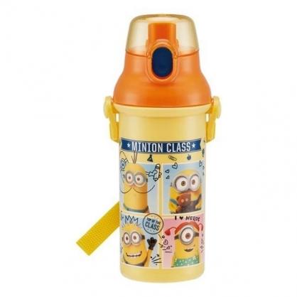 小禮堂 小小兵 日製 直飲式水壺 水瓶 隨身瓶 兒童水壺 附背帶 480ml (黃橘 格圖)