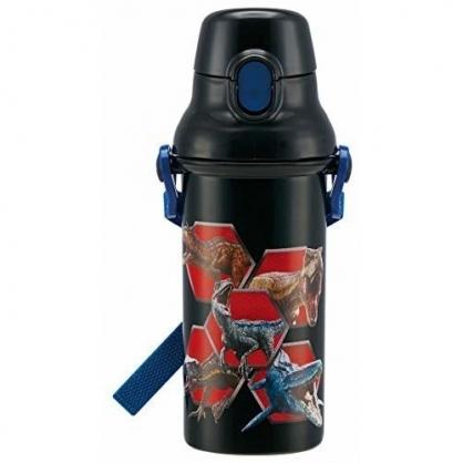 小禮堂 侏儸紀公園 日製 直飲式水壺 水瓶 隨身瓶 兒童水壺 附背帶 480ml (黑藍 暴龍)