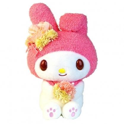 小禮堂 美樂蒂 沙包玩偶 絨毛 娃娃 布偶 玩具 (M 粉白 拿花)
