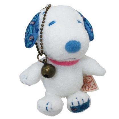 小禮堂 史努比 玩偶吊飾 絨毛 娃娃 吊飾 掛飾 鑰匙圈 (白 藍耳)