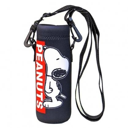 小禮堂 史努比 水壺袋 水壺背袋 潛水布 環保杯袋 水瓶袋 500ml (黑紅 LOGO)
