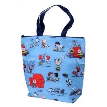 小禮堂 史努比 保冷袋 尼龍 直式 側背袋 野餐袋 手提袋 肩背袋 (藍 多圖)
