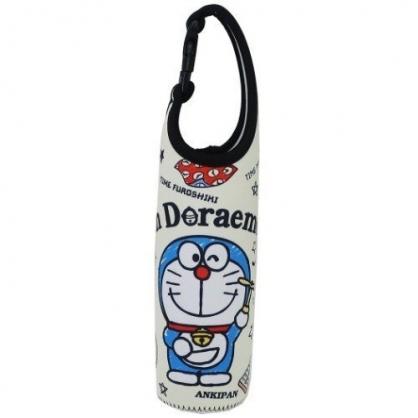 小禮堂 哆啦A夢 水壺袋 水壺套 潛水布 環保杯袋 水瓶袋 500ml (米黑 道具)