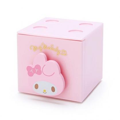 小禮堂 美樂蒂 積木盒 收納盒 抽屜盒 方形塑膠 單抽 置物盒 可堆疊 (粉 大臉文具)