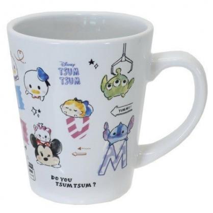小禮堂 迪士尼 TsumTsum 馬克杯 陶瓷杯 咖啡杯 茶杯 水杯 (粉白 字母)