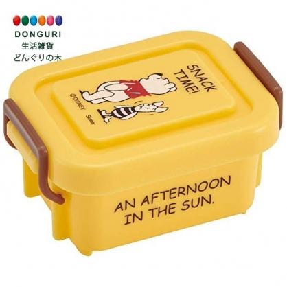 小禮堂 迪士尼 小熊維尼 迷你 保鮮盒 方形塑膠 雙扣 便當盒 餐盒 140ml (黃 站姿)