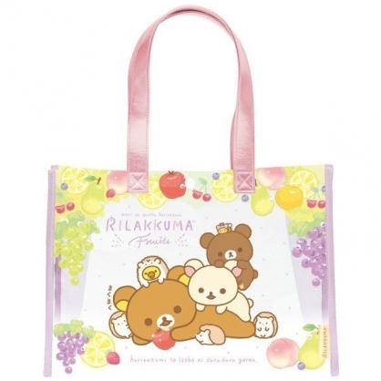 小禮堂 懶懶熊 透明海灘袋 游泳袋 側背袋 防水提袋 泳具袋 (黃紫 水果)