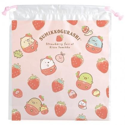 小禮堂 角落生物 束口袋 防水 鞋袋 收納袋 縮口袋 防水袋 (粉白 草莓)