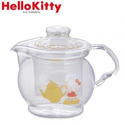 小禮堂 Hello Kitty 玻璃茶壺 水壺 飲料壺 咖啡壺 YAMAKA陶瓷 460ml (透明 倒茶)