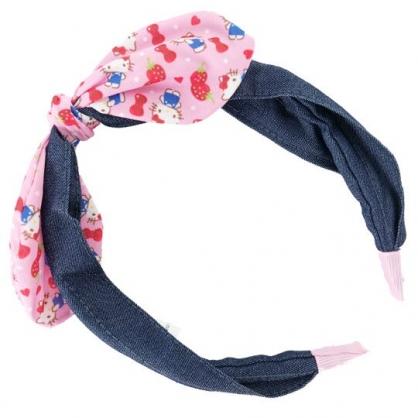 小禮堂 Hello Kitty 兒童髮箍 牛仔布 髮飾 髮帶 頭飾 首飾 兒童髮飾 蝴蝶結造型 (深藍粉)