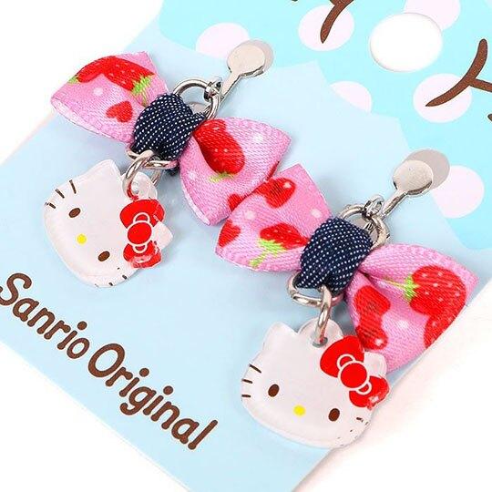 小禮堂 Hello Kitty 夾式耳環 耳飾 耳墜 兒童飾品 螺旋耳夾 無耳洞 蝴蝶結造型 (藍紅)