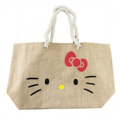 小禮堂 Hello Kitty 側背袋 橫式 麻布袋 編織袋 肩背袋 購物袋 海灘袋 (棕 大臉)