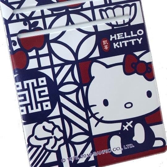 小禮堂 Hello Kitty x 故宮博物院 票卡夾 塑膠皮質 掛繩 證件套 車票夾 卡套 (藍白)