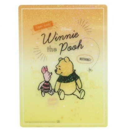 小禮堂 迪士尼 小熊維尼 日製 硬墊板 B5 桌墊 寫字墊  學童文具 透明亮粉 (黃橘 對看)